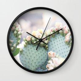 Spring Cactus Blossoms Wall Clock
