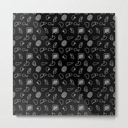 Organs, White on Black Metal Print