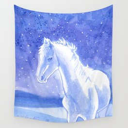 Little White Horse Wall Tapestry
