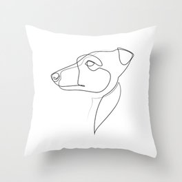 Whippet - one line drawing Throw Pillow