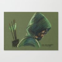 green arrow Canvas Prints featuring Green Arrow by xDontStopMeNow