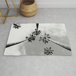 Black and White Palm Trees Rug