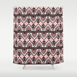Blush Pink Black and White Ornate Lace Pattern Shower Curtain