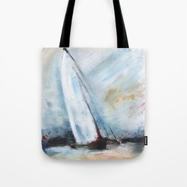 oil paint sailboat Tote Bag