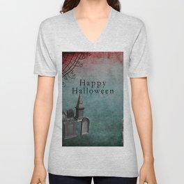 Creepy Grunge Graveyard Halloween Unisex V-Neck