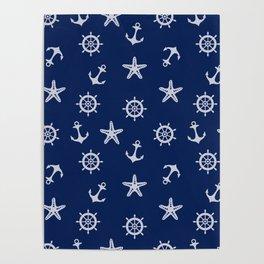 Navy Blue Nautical Pattern Poster