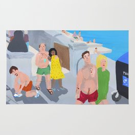 Bad Painting 60: Holiday makers on Margate Sands Rug