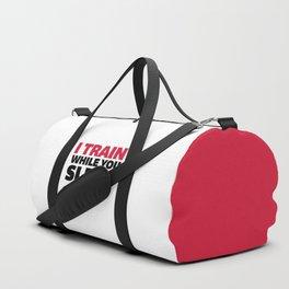 Train While You Sleep Gym Quote Duffle Bag