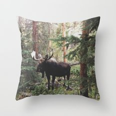 The Modest Moose Throw Pillow
