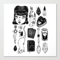 loll3 Canvas Prints featuring teen Witch by lOll3