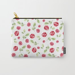Red Roses Watercolor // Hand Painted // Watercolor Roses and Leaves Carry-All Pouch