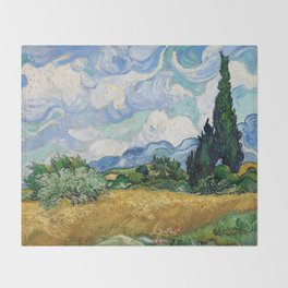 Wheat Field with Cypresses by Vincent van Gogh Throw Blanket