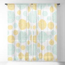 summer sunshine & sea urchins in yellow & mint Sheer Curtain