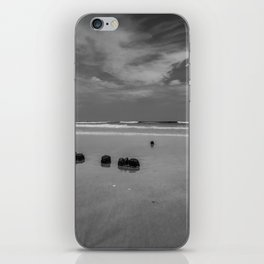 Exposed driftwood structure on Assateague Island (black and white) iPhone Skin