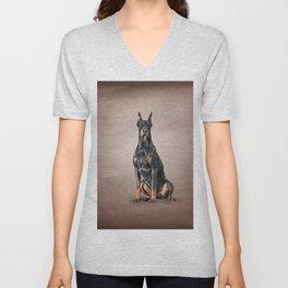 Drawing Doberman dog Unisex V-Neck