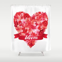 Blooming heart Shower Curtain