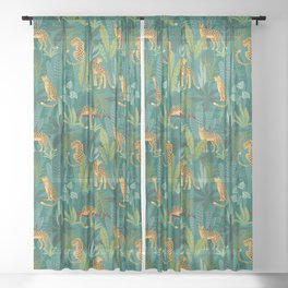 Preppy Tropical Leopard Jungle Scene Sheer Curtain