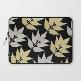 Silver & Gold Leaves On Black Laptop Sleeve