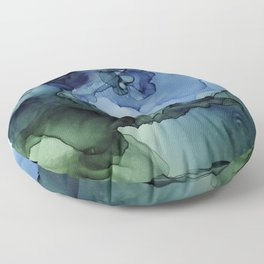 Blue Green Waves Abstract Ink Painting Floor Pillow