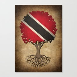 Vintage Tree of Life with Flag of Trinidad and Tobago Canvas Print