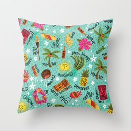 It's A Tiki Party! Throw Pillow