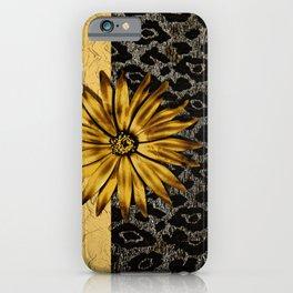 ANIMAL PRINT BLACK AND GOLD FLOWER MEDALLION iPhone Case