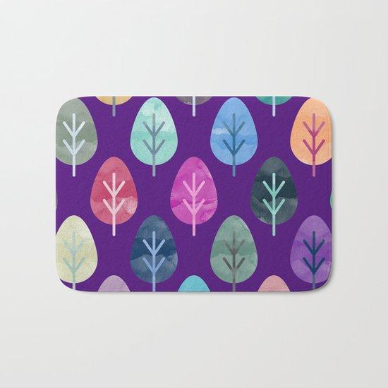 Watercolor Forest Pattern II Bath Mat