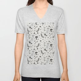 Hand painted cute black white rabbit watercolor floral Unisex V-Neck