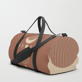 Geometric Lines Moon phases in Terracotta and Beige Duffle Bag