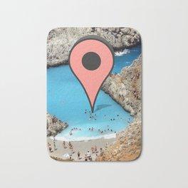 Wish I was there (google marker beach) Bath Mat