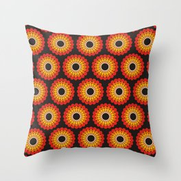 Orange red circled polka dots on black Throw Pillow