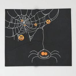 Halloween Spider on Web Throw Blanket