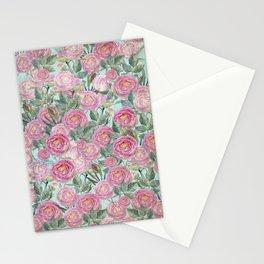 Vintage Roses Mint Stationery Cards