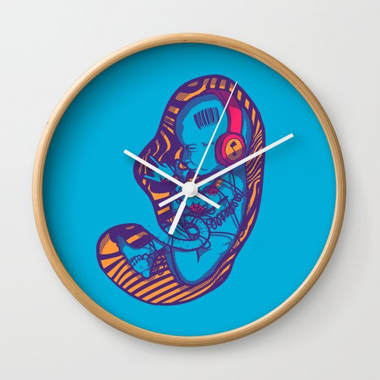 Neon Party Fetus  Wall Clock