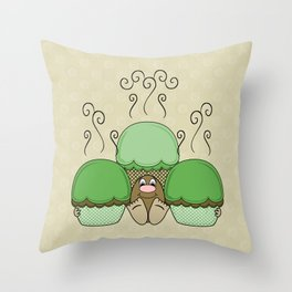 Cute Monster With Green And Yellow Frosted Cupcakes Throw Pillow