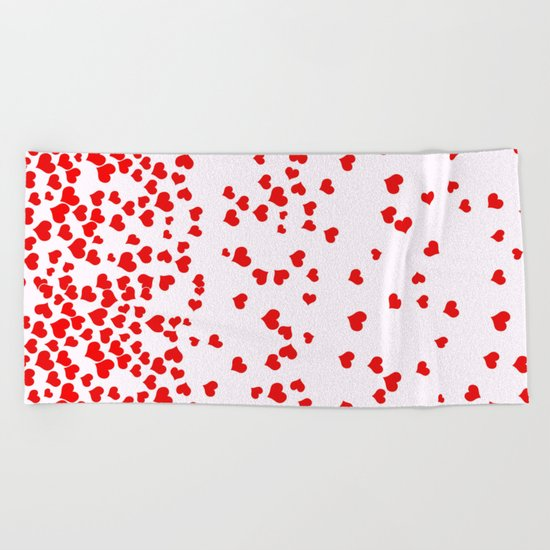 Falling Hearts Beach Towel