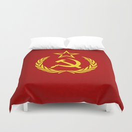 Hammer and Sickle Textured Flag Duvet Cover