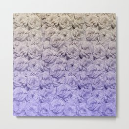 Cold Purple Ombre Book Flowers Metal Print