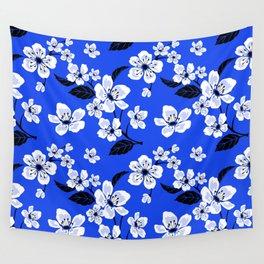 Blue Sakura Cherry Tree Flower Blooms - Aloha Hawaiian Floral Pattern Wall Tapestry