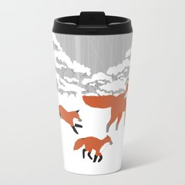 Foxes - Winter forest Travel Mug