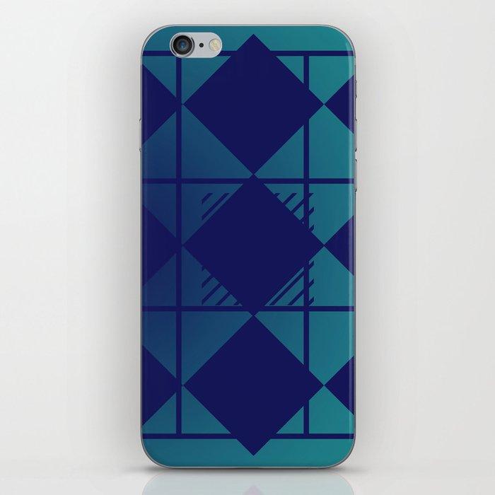 Blue,Diamond Shapes,Square iPhone Skin