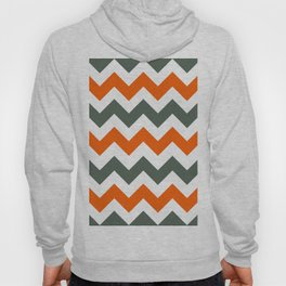 Chevron Pattern In Russet Orange Grey and White Hoody