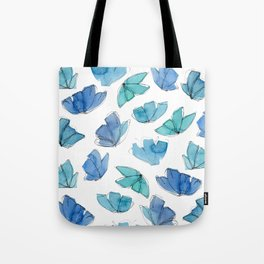 Blue and Green abstract flowers Tote Bag
