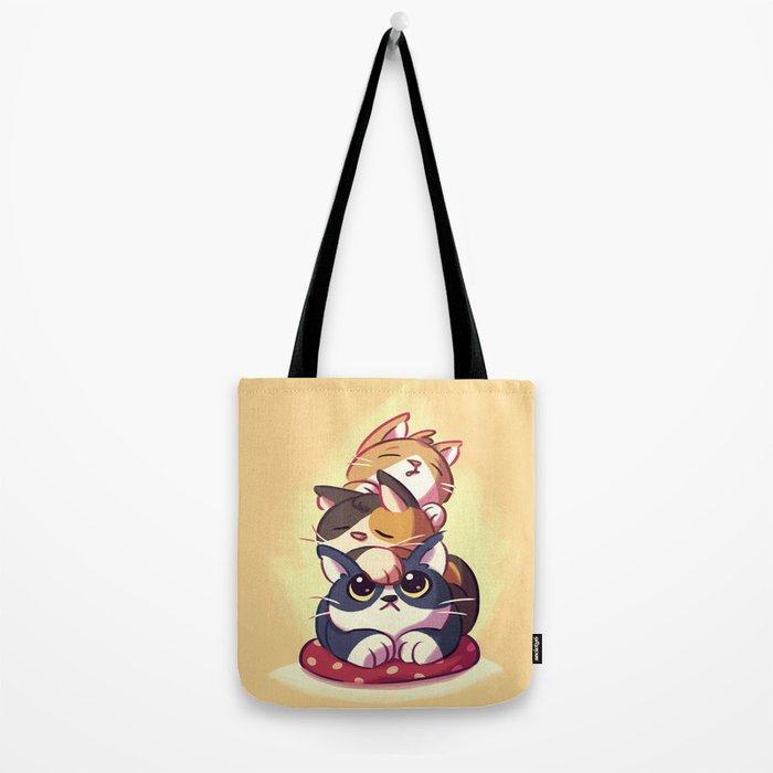 Cat Stack Doodle Tote Bag
