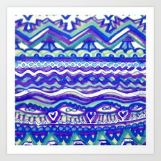 Aztec Blue Mountains and Fields of Streams Art Print