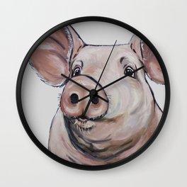 Pig Art, Cute Pig Art from original painting Wall Clock