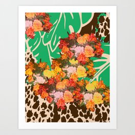 TROPICAL FLOWER LEOPARD SPOT ISLAND PATTERN Art Print