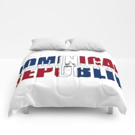 Dominican Republic Font with Dominican Flag Comforters