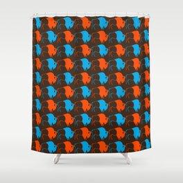 Orange Blue Buffalo Spirit Shower Curtain