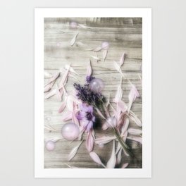 Bubbles, flowers, petals, and planks Art Print